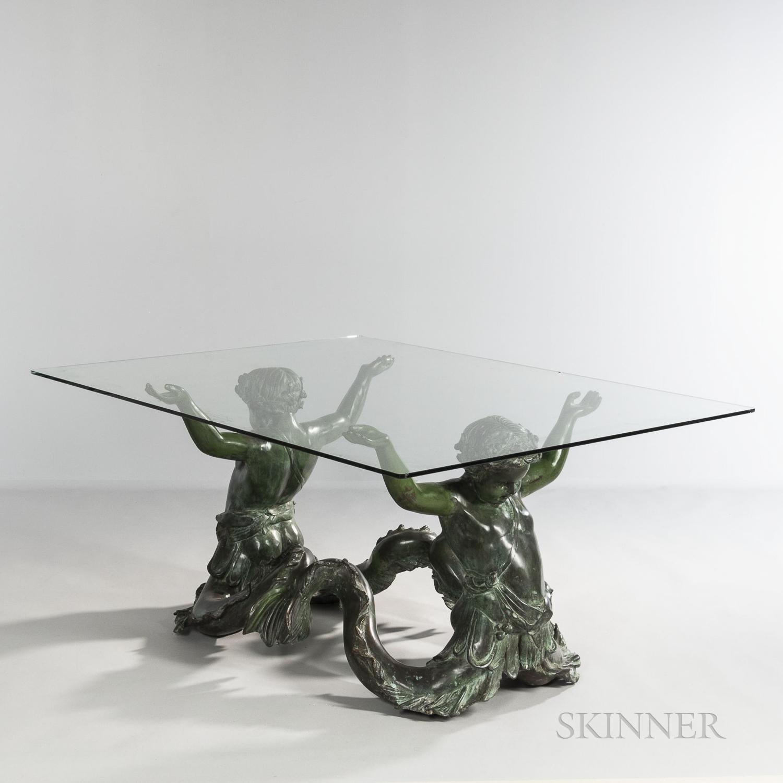Bronze Putti de Mare and Glass Table