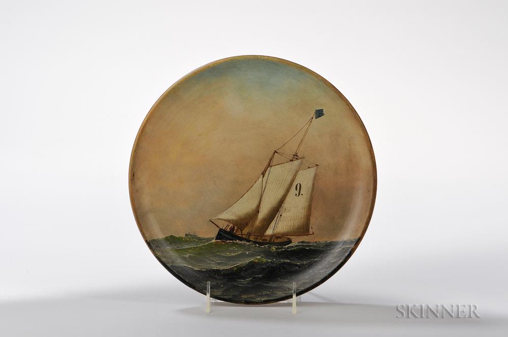 Antonio Nicolo Gasparo Jacobsen (New York/New Jersey/Denmark, 1850-1921)      Pilot Boat No. 9 Painted on a Plate