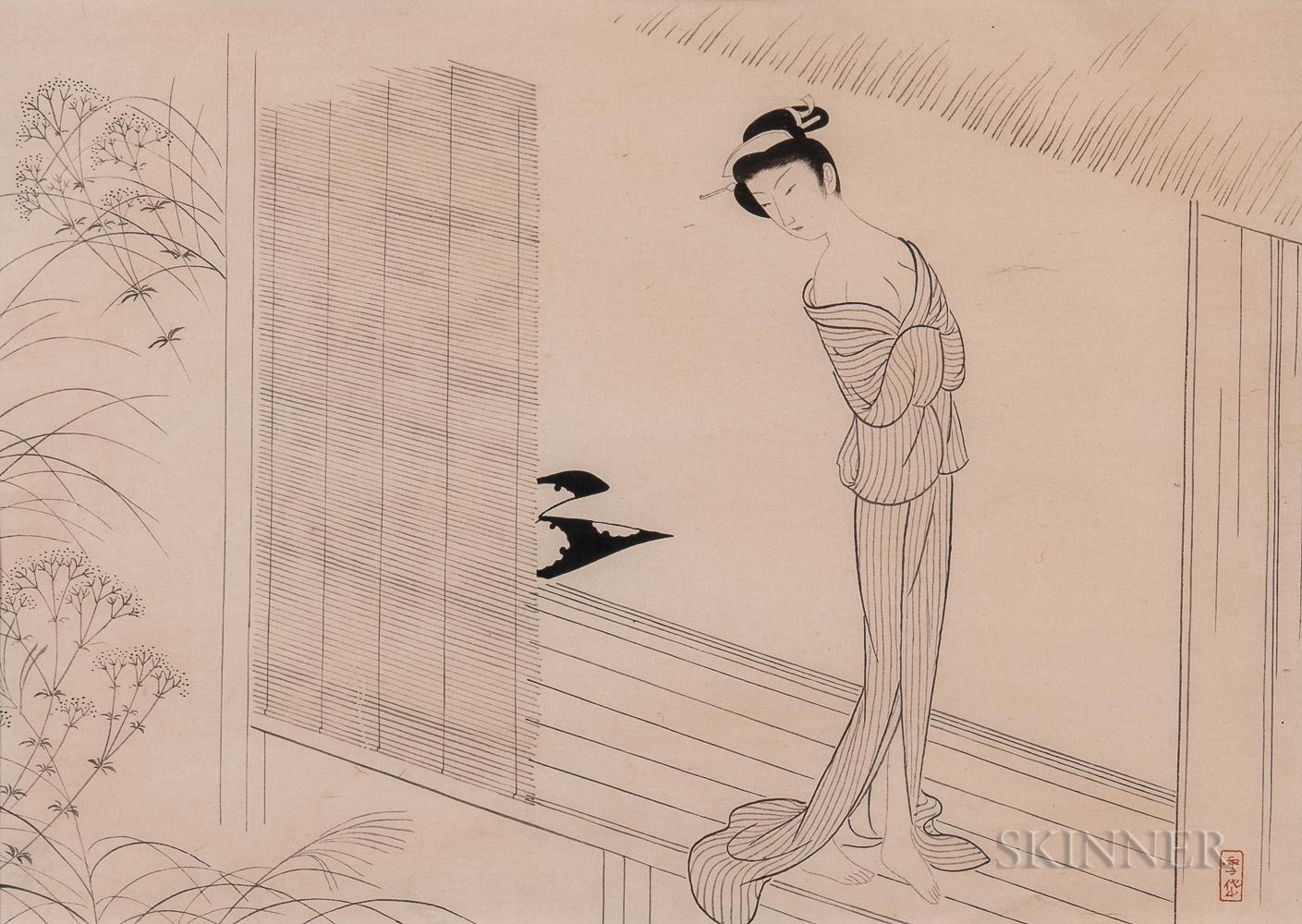Settai Komura (1887-1940) Ink Woodblock Print