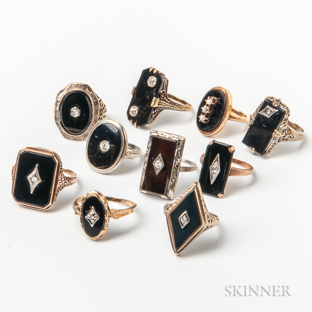 Ten Gold, Onyx, and Diamond Rings
