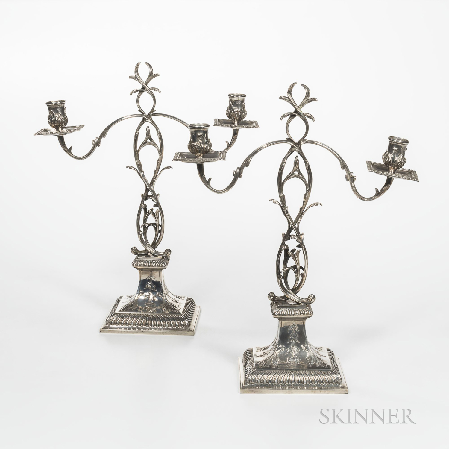 Pair of Edward VII Sterling Silver Two-light Candelabra