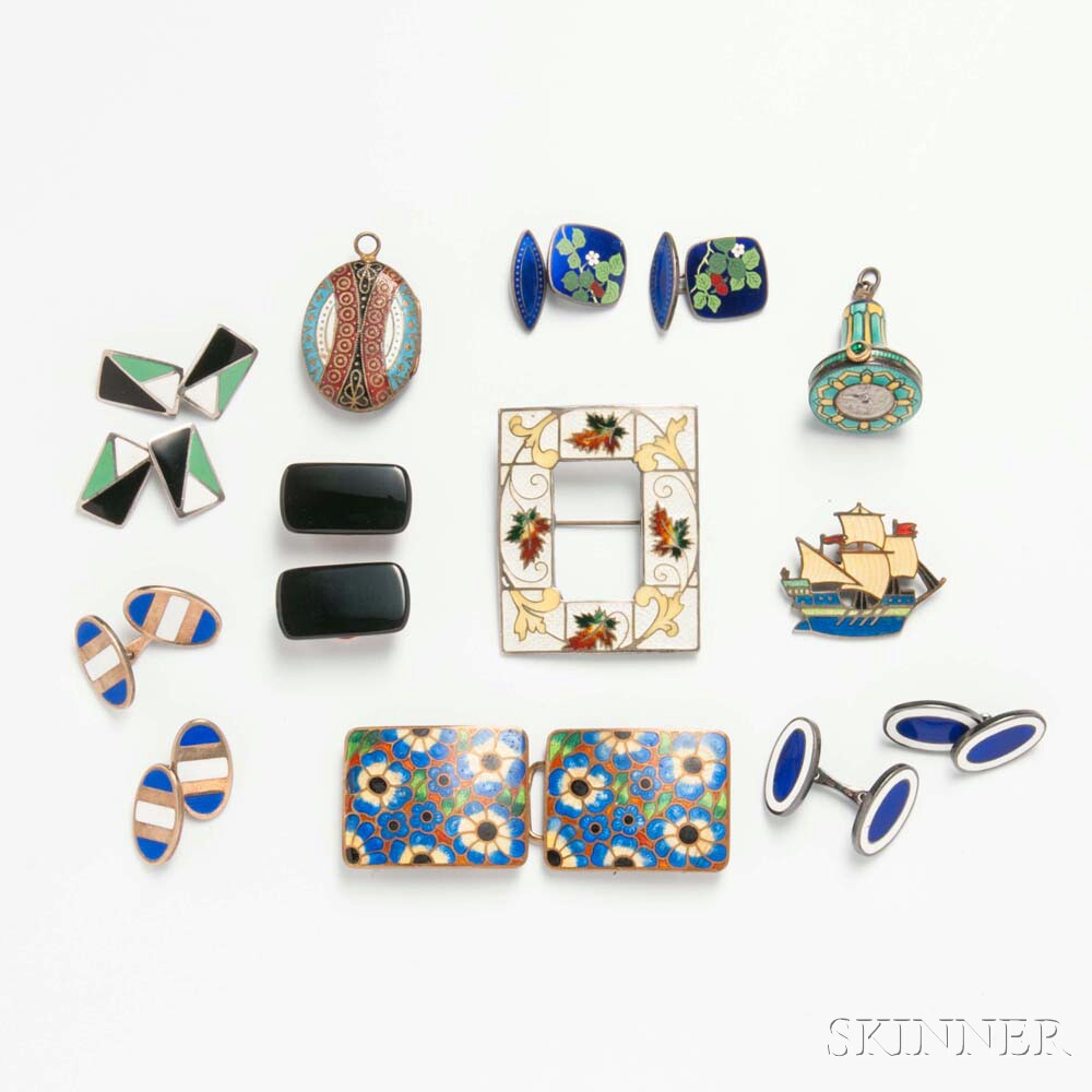 Group of Enameled Jewelry