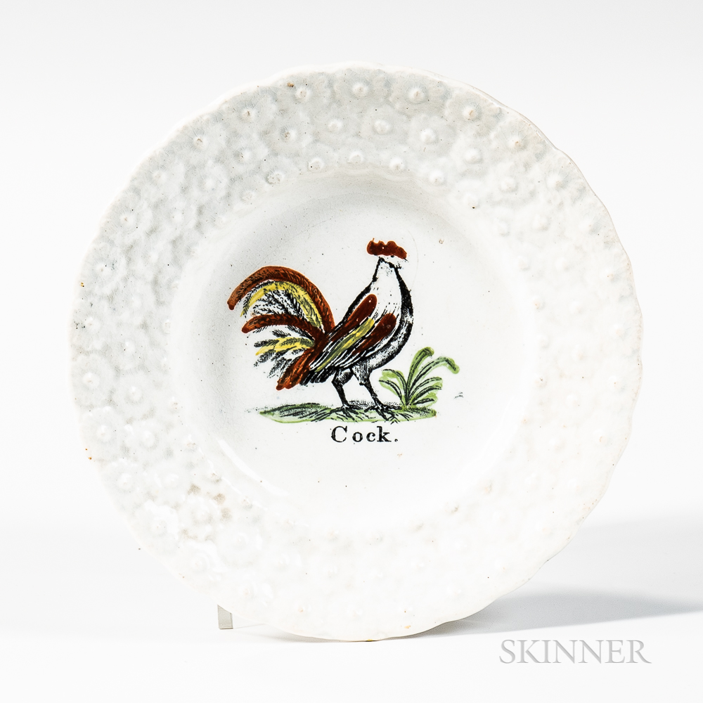 """Small Transfer-printed and Hand-colored """"Cock"""" Plate"""