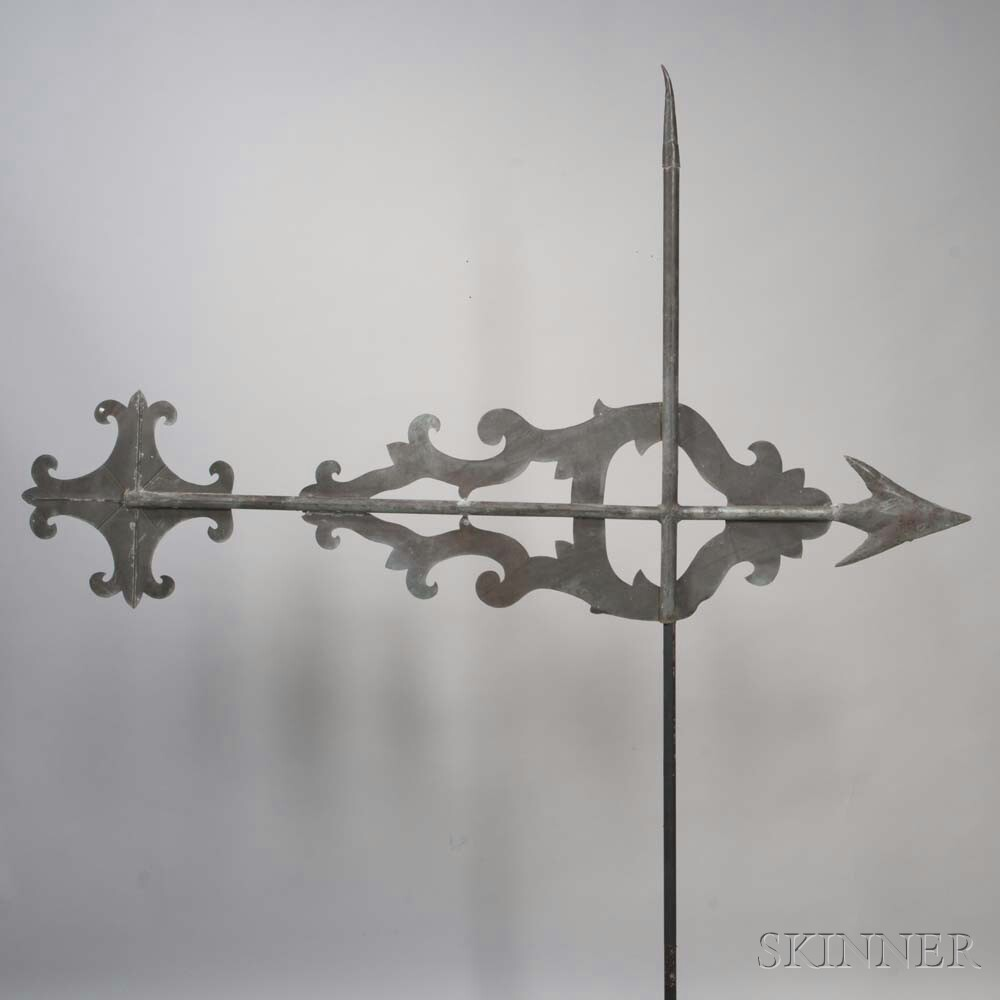 Large Molded Sheet Copper Bannerette with Arrow Weathervane