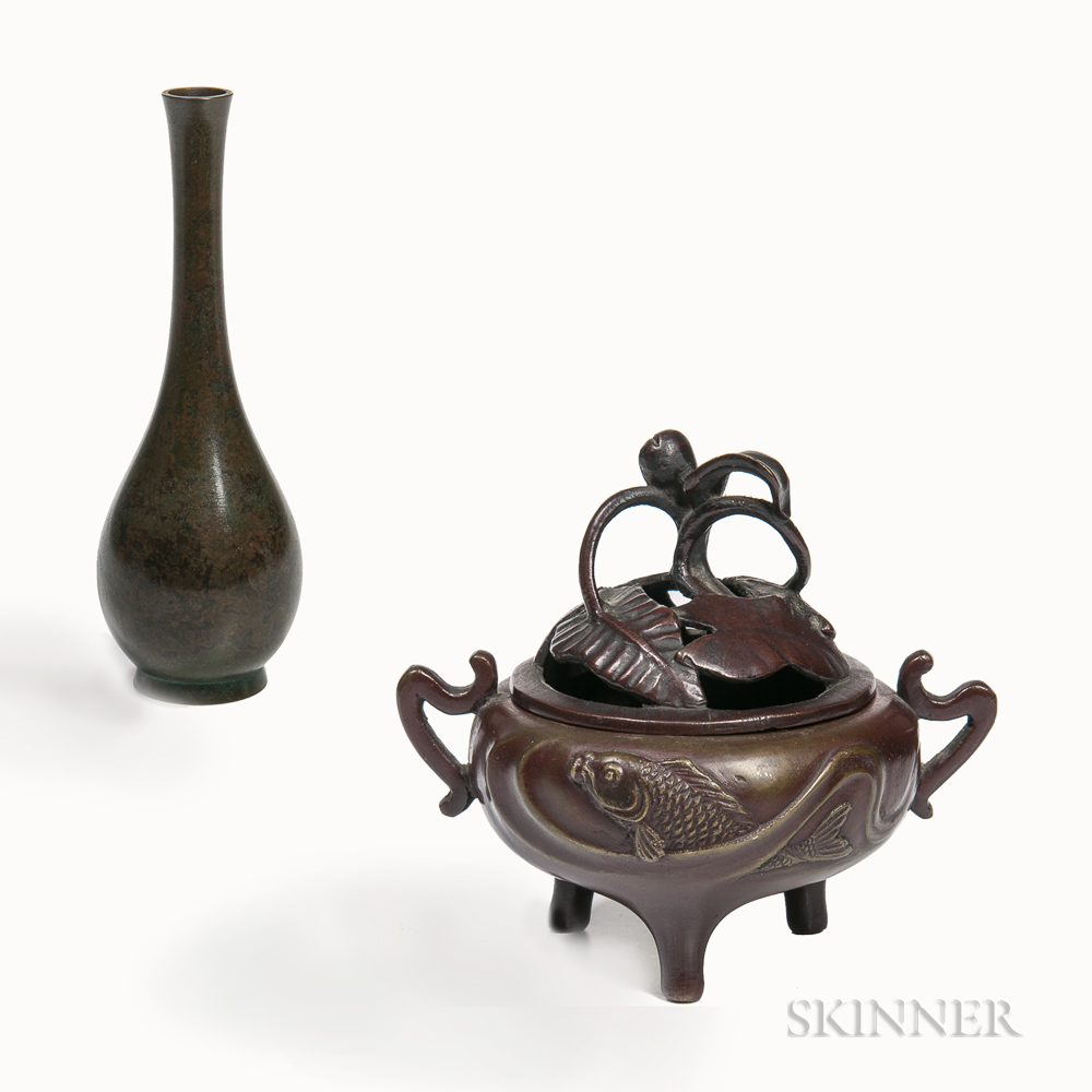 Bronze Vase and a Covered Censer