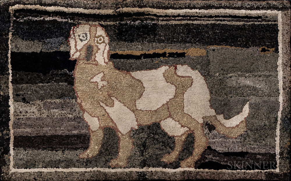 Hooked Rug Depicting a Dog