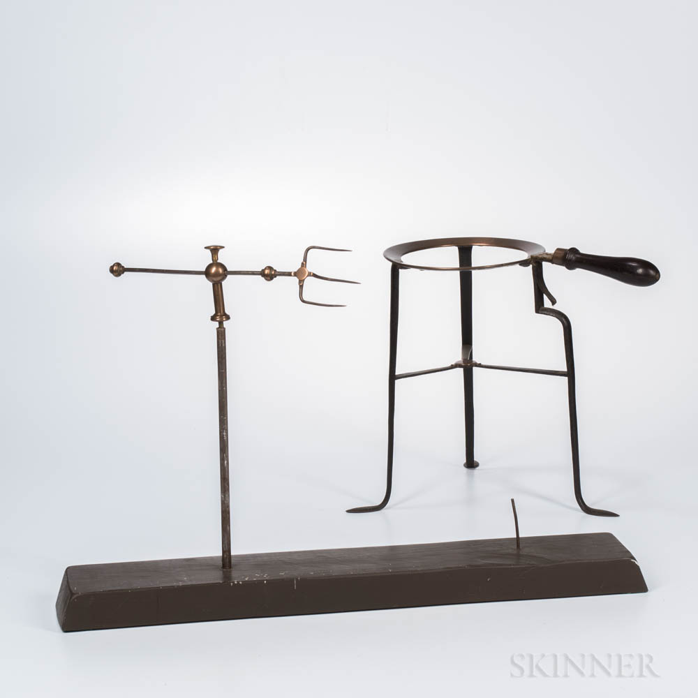 Brass and Iron Spit and Trivet