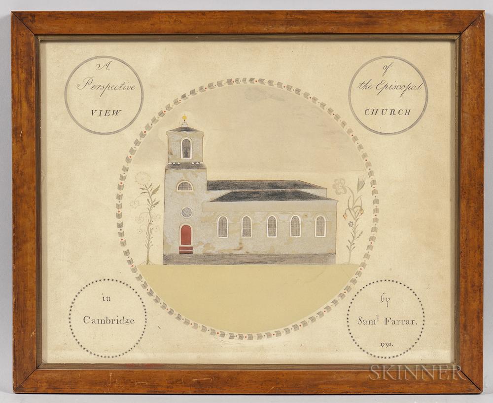 After Samuel Farrar (Massachusetts, 1773-1864)      A Perspective View of the Episcopal Church in Cambridge