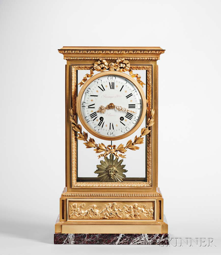 Raingo Freres Gilt and Glazed Mantel Clock
