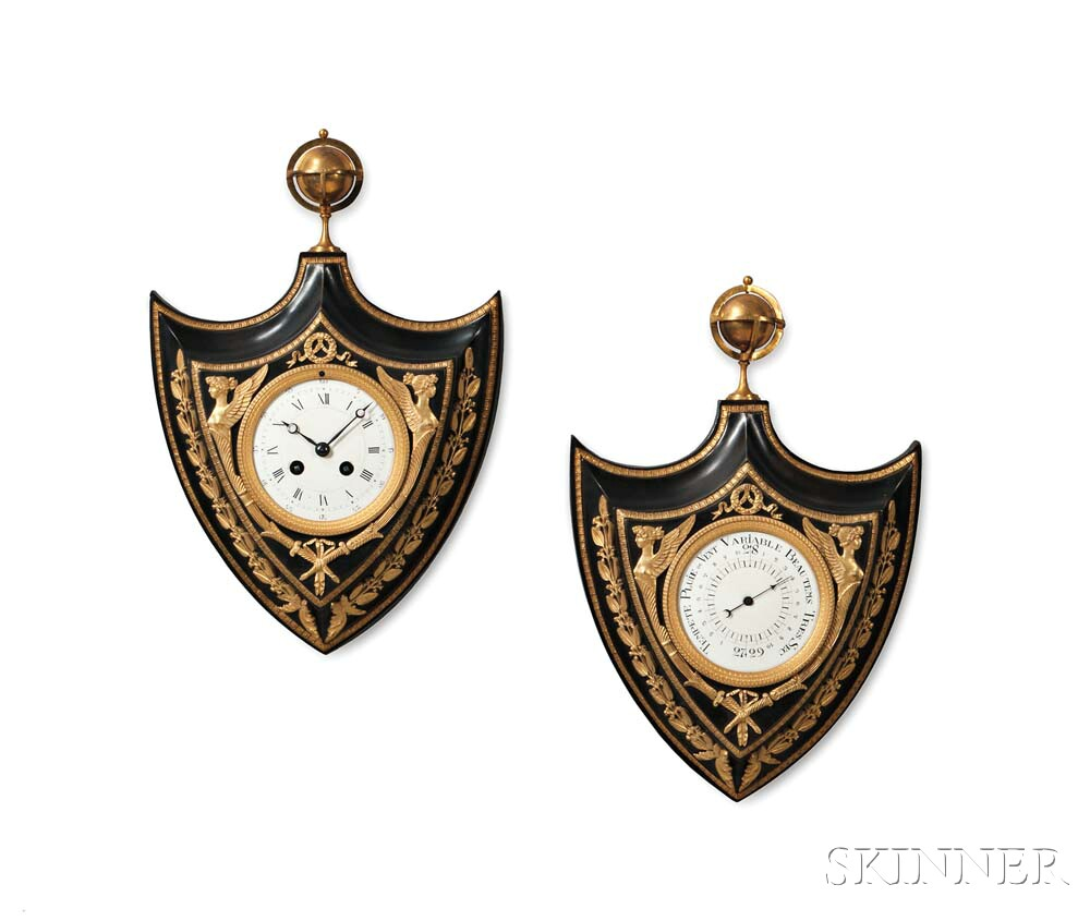 Patinated Brass and Ormolu-mounted Shield-form Clock and Barometer Set