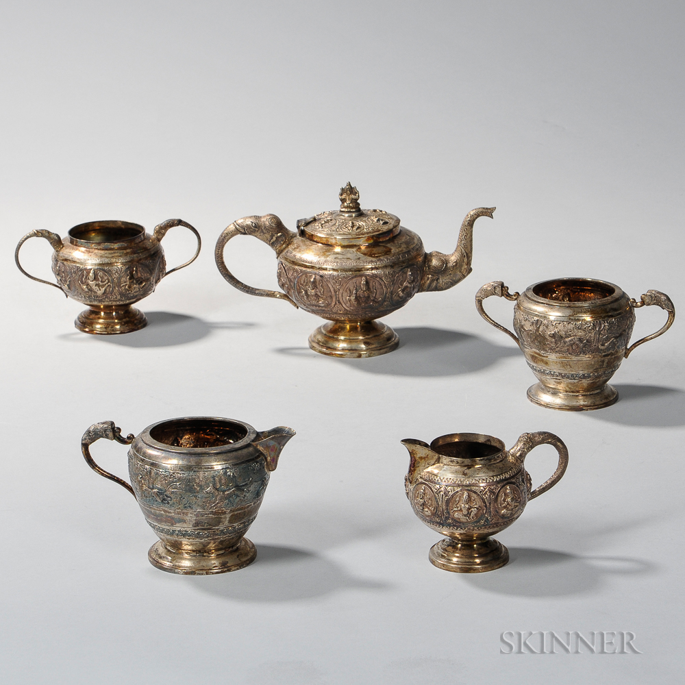 Five Pieces of Indian Silver Tableware