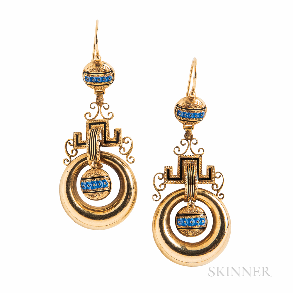 Victorian Gold and Enamel Earrings