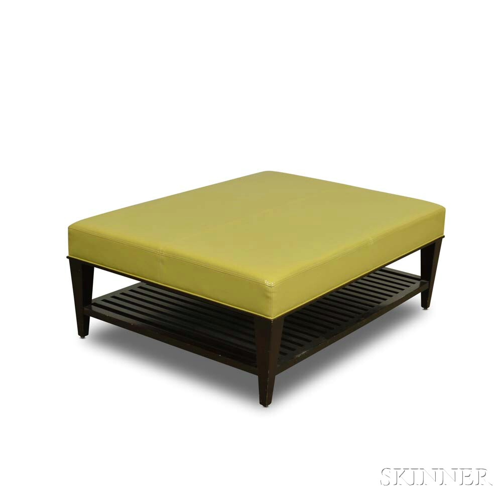 Contemporary Patent Leather-upholstered Coffee Table