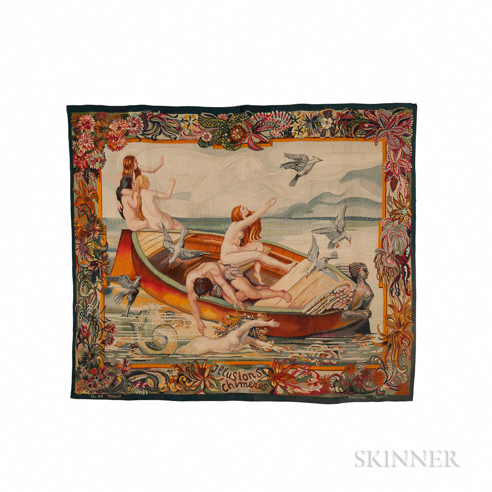 French Tapestry Titled Illusions Chimeres