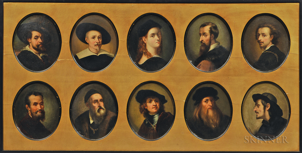 Ten Framed Paintings on Board of European Artists