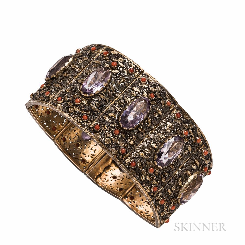 Silver and Amethyst Strap Bracelet