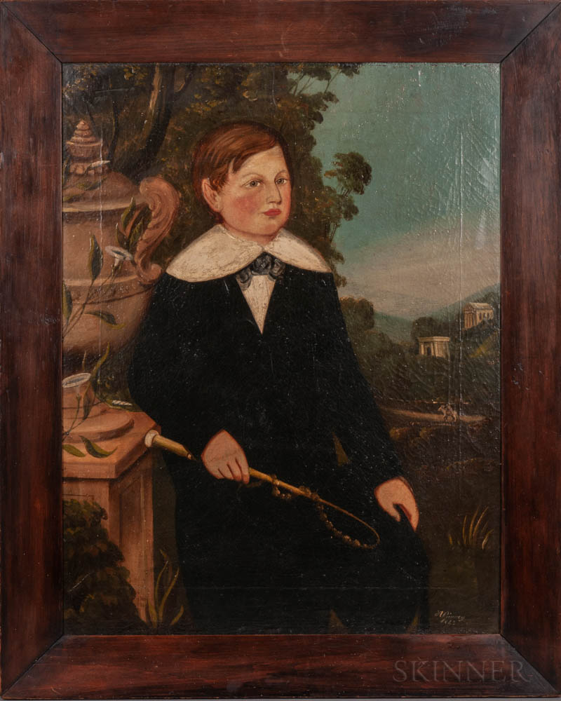 British School, 19th Century    Pair of Folk Art Portraits of Children: John Cocker, Aged 9 Years