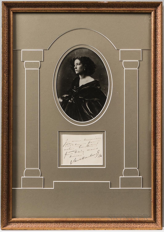 Two Framed Autographs Including Sarah Bernhardt and Henry Lauder,   Undated.
