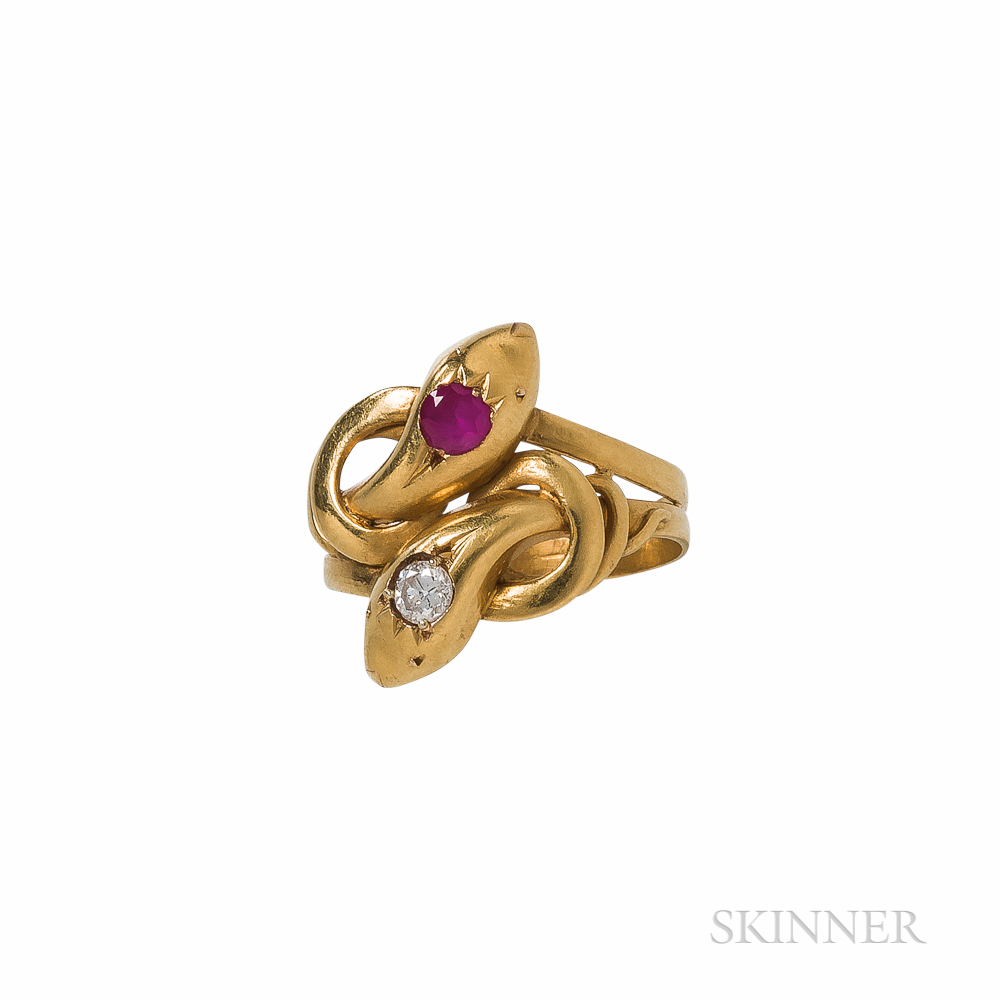 18kt Gold and Diamond Snake Ring