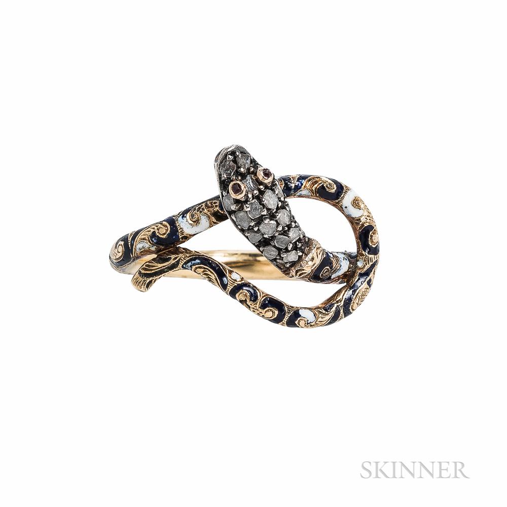 14kt Gold, Enamel, and Diamond Snake Ring