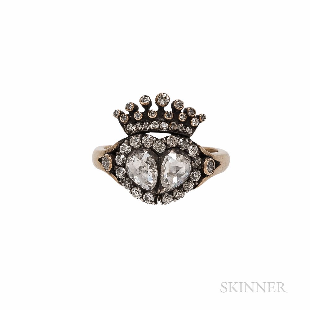 Georgian-style Gold and Rose-cut Diamond Crowned Heart Ring