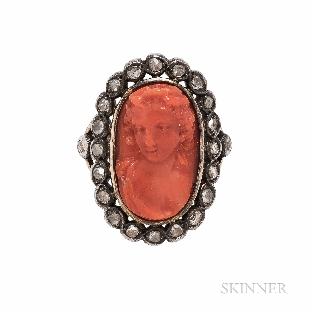Coral Cameo and Diamond Ring