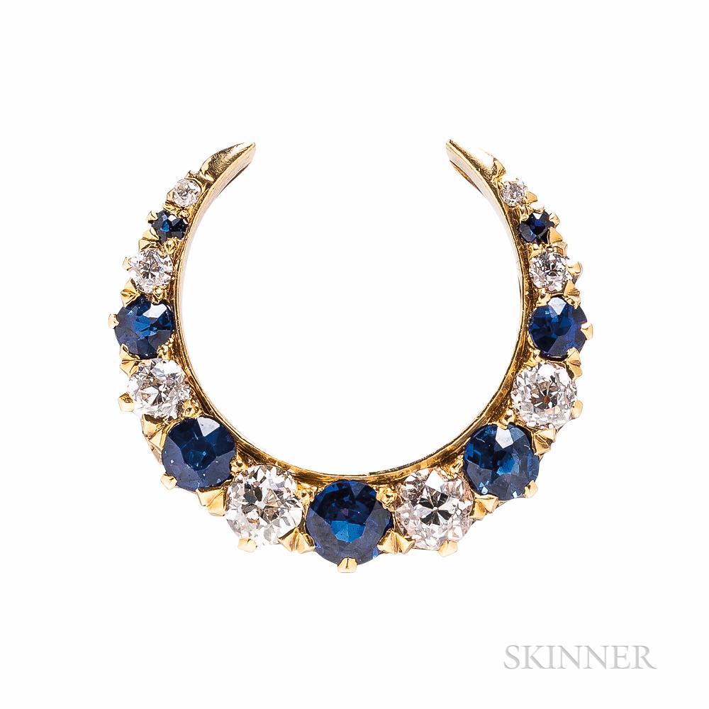Antique Schumann Sons Sapphire and Diamond Crescent Brooch