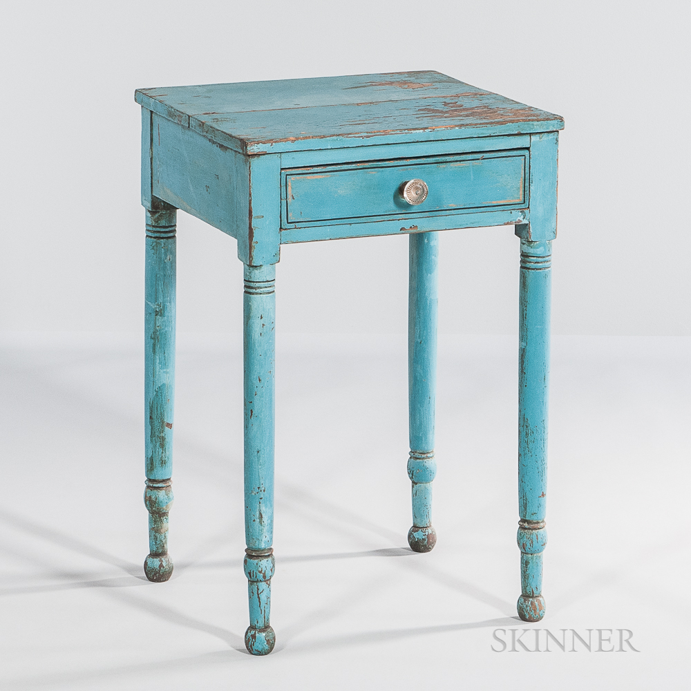 Blue-painted One-drawer Stand