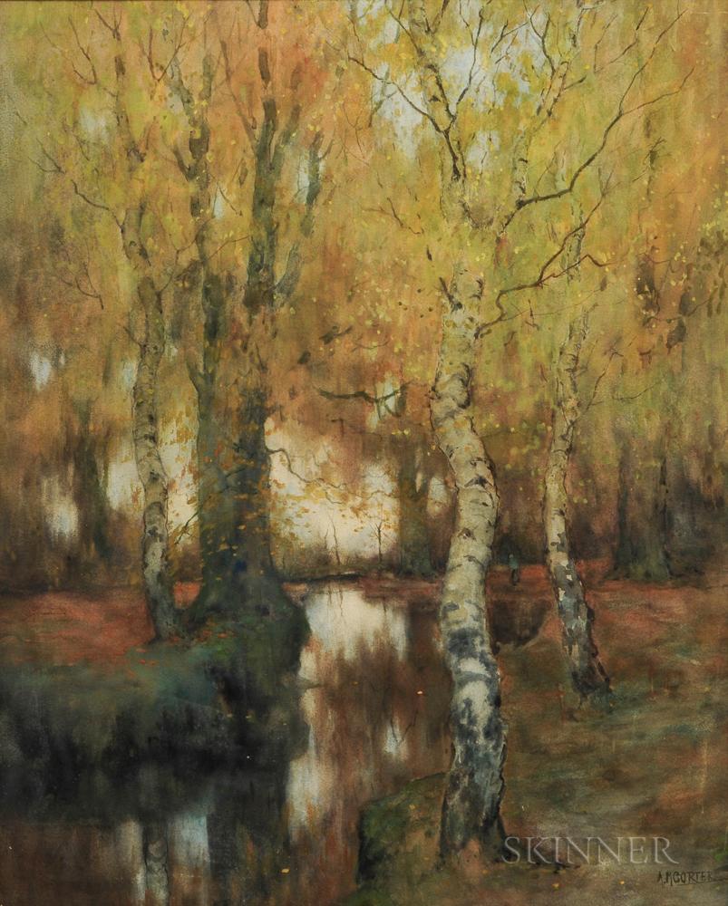 Arnold Marc Gorter (Dutch, 1866-1933)      Autumn Forest with Stream