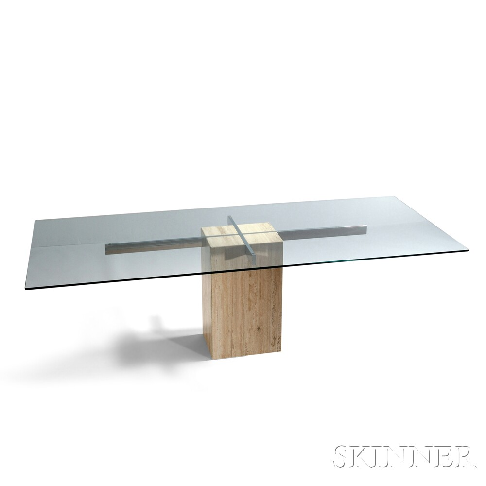 Contemporary Glass and Chromed Steel Dining Table on Marble Pedestal Base
