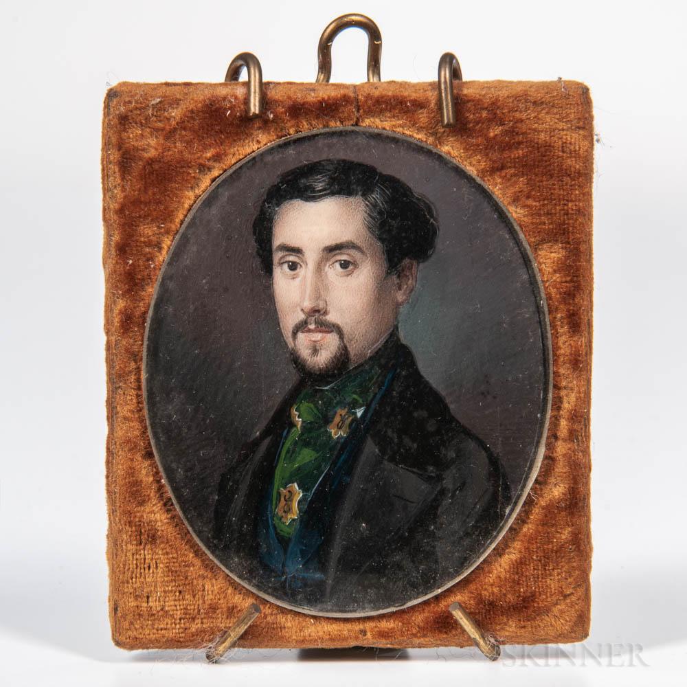 American School, Mid-19th Century    Portrait of a Gentleman in a Black Jacket
