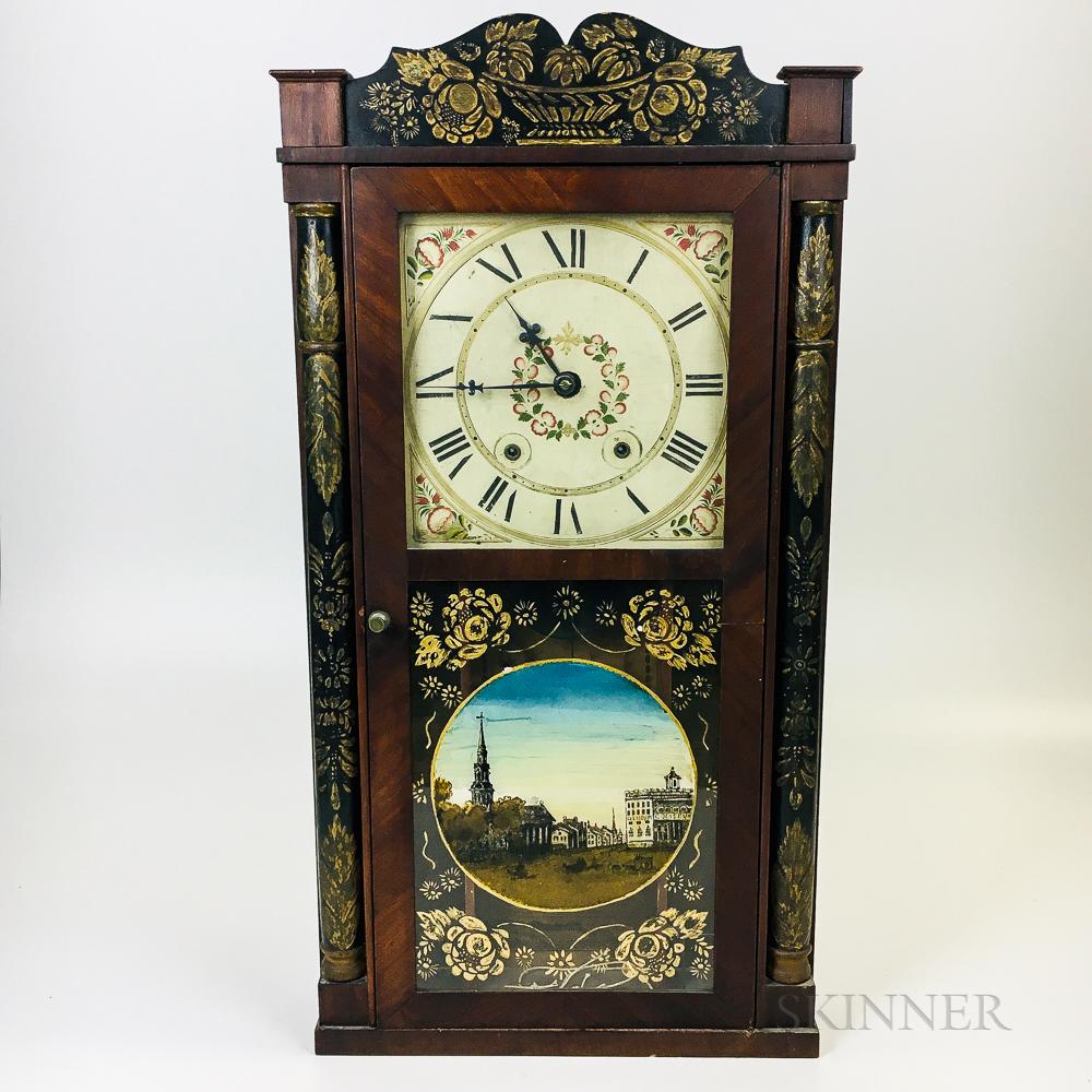 Seth Thomas Stenciled and Paint-decorated Mahogany Shelf Clock