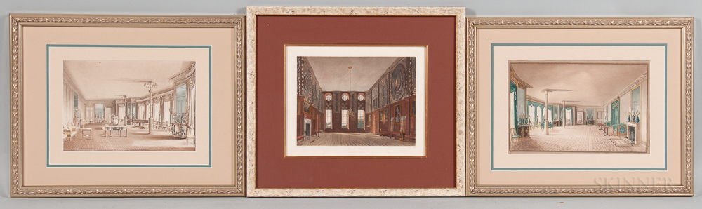 British School, 19th Century  Three Framed Etchings of Historic Interiors: James Stephanoff (British, 1784-1874), Guard Ch...