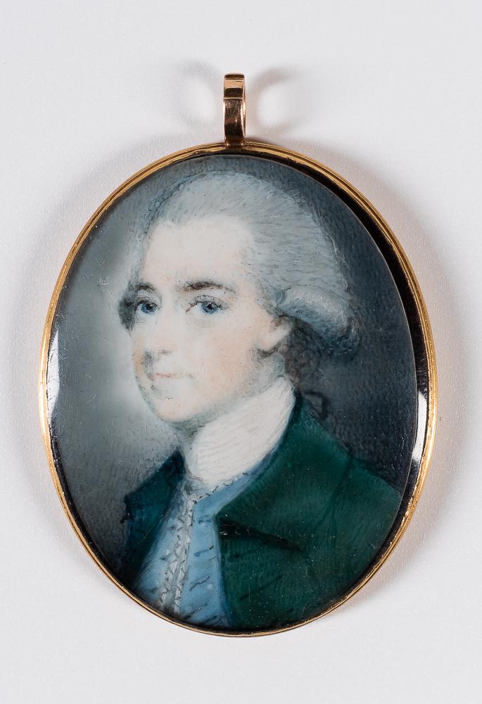American School, Late 18th Century      Miniature Portrait of a Man in a Green Coat