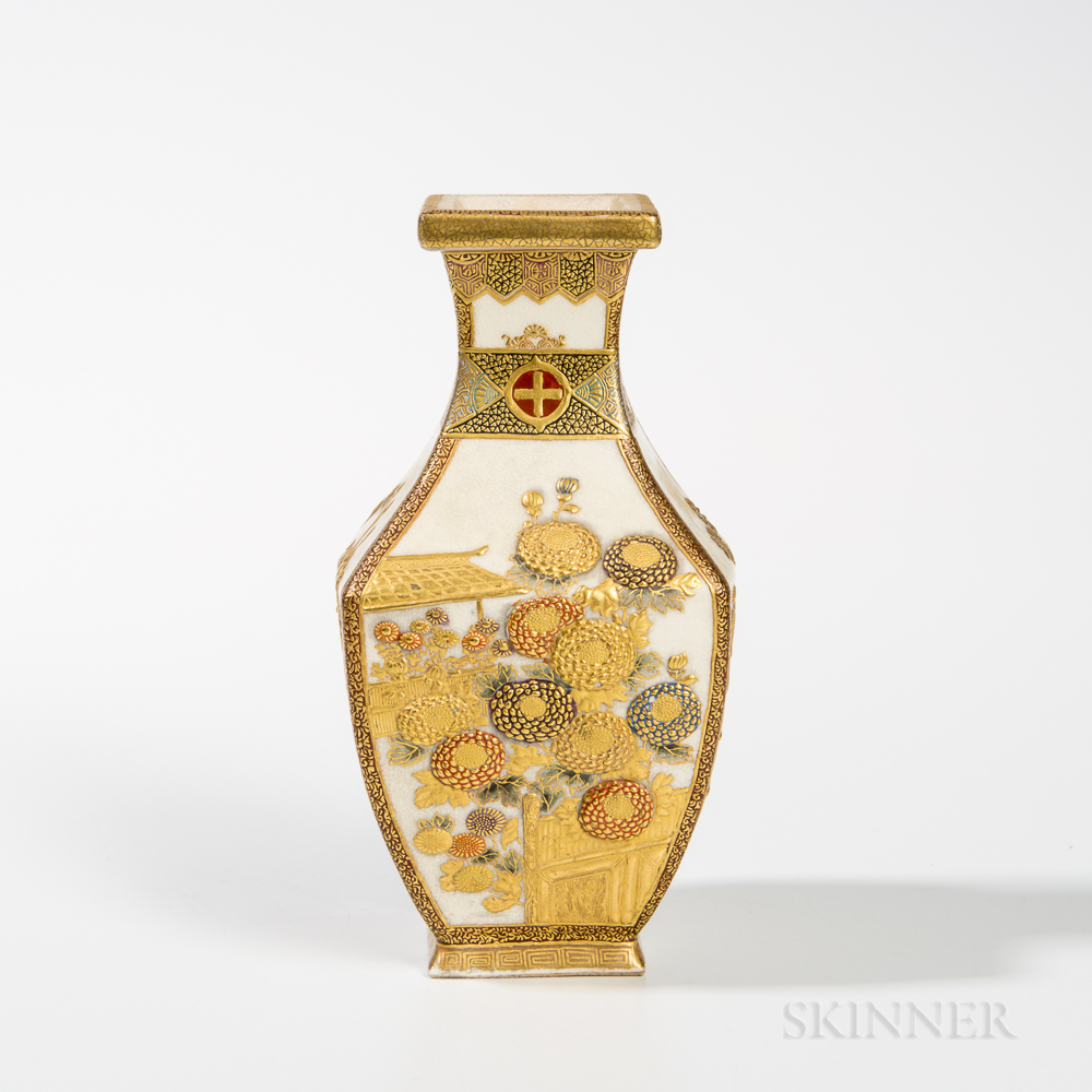 Four-sided Satsuma Vase