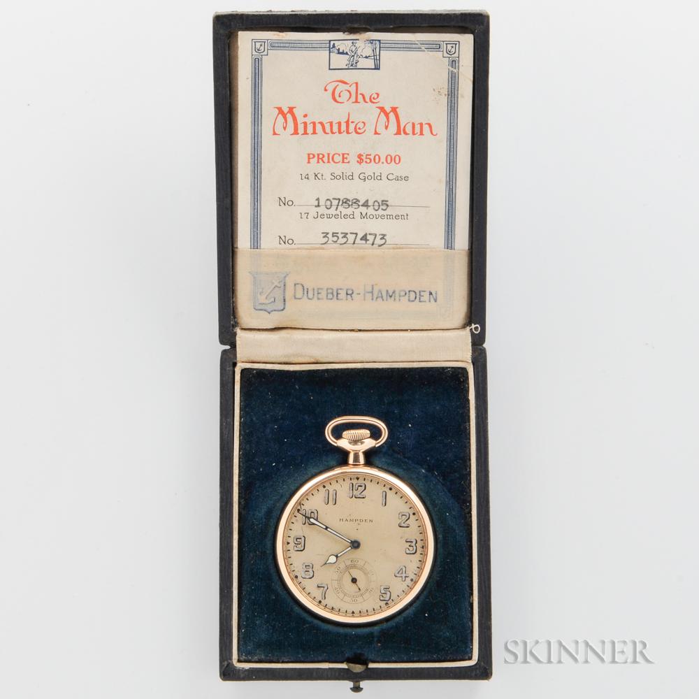 """Hampden """"Minute Man"""" 14kt Gold Open-face Watch"""