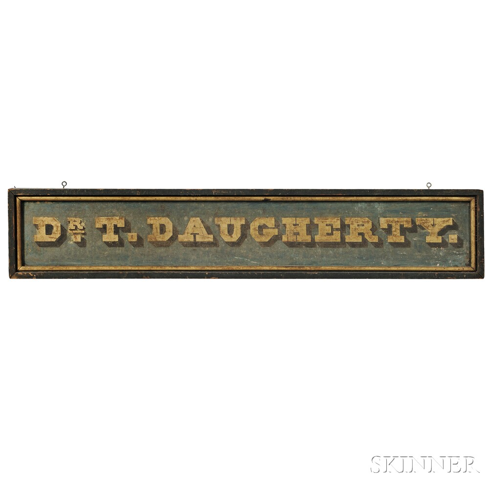 """Paint-decorated and Gilt-lettered """"DR. T. DAUGHERTY"""" Trade Sign"""
