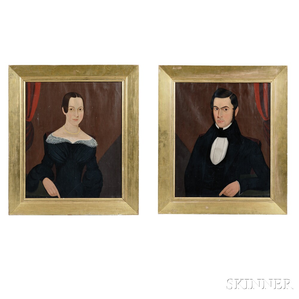 American School, 19th Century      Pair of Portraits of a Husband and Wife