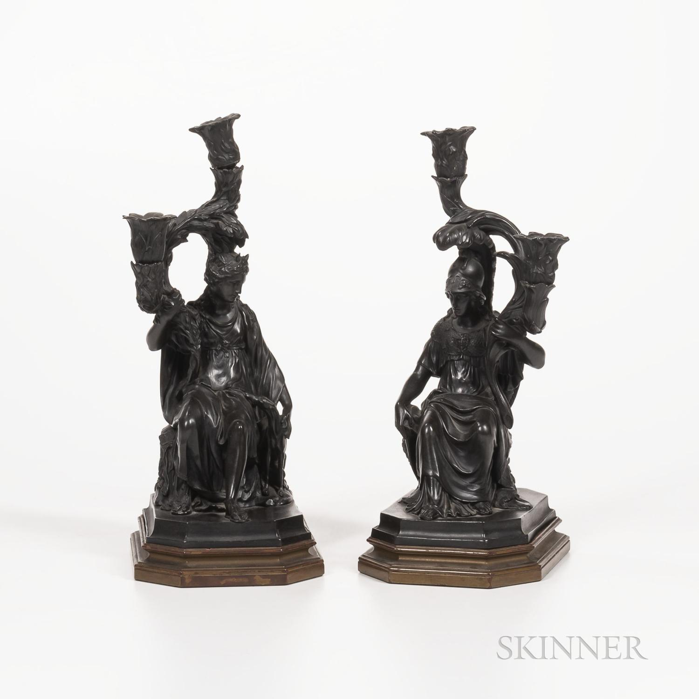 Pair of Wedgwood Black Basalt Figural Candelabra