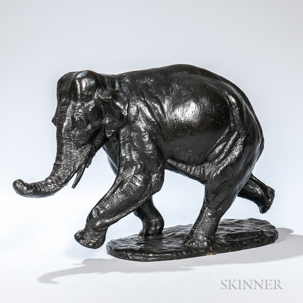 After Antoine-Louis Barye (French, 1795-1875)      Bronze Figure of an Elephant