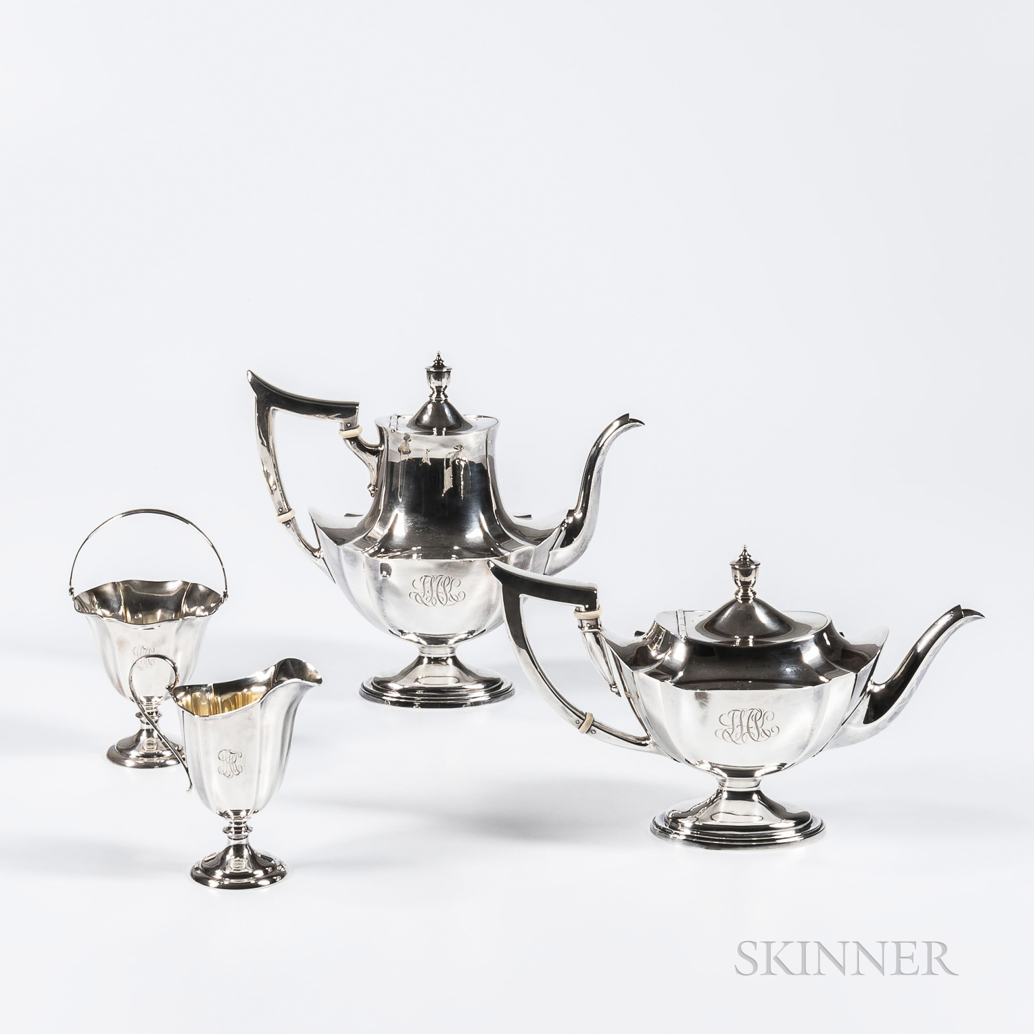 Assembled Four-piece Sterling Silver Tea and Coffee Service