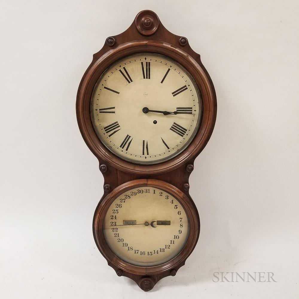 Seth Thomas Walnut Office Calendar Wall Clock