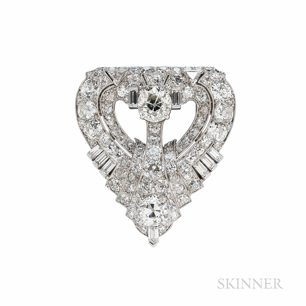 Art Deco Raymond Yard Platinum and Diamond Dress Clip