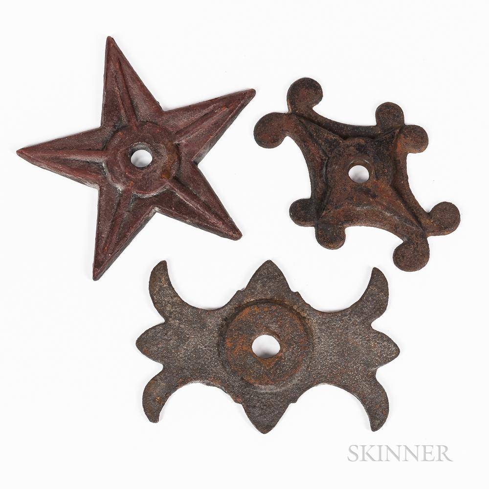 "Three Cast Iron Building ""Stars""/Brackets"