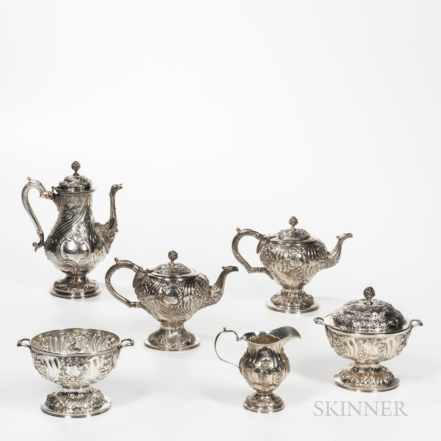 Samuel Kirk .917 Silver Tea and Coffee Service