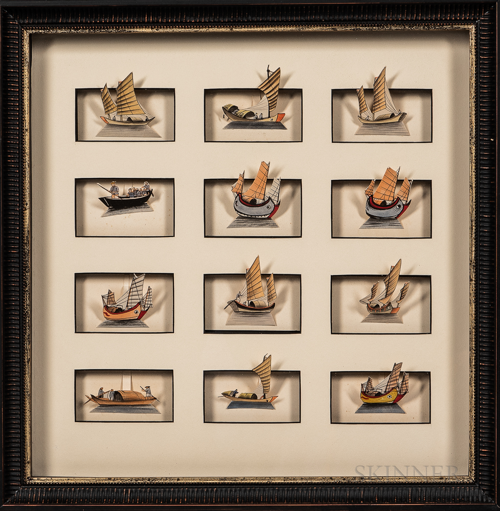 Shadow Box Diorama of Chinese Paper Ships