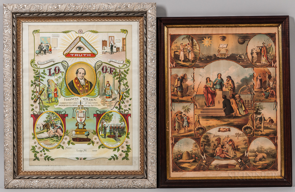 Two Framed Pictorial Odd Fellows Lithographs