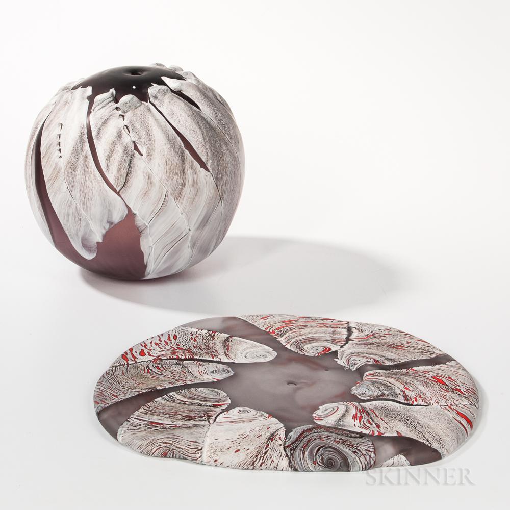 Two Shinji Yonehara Art Glass Sculptures