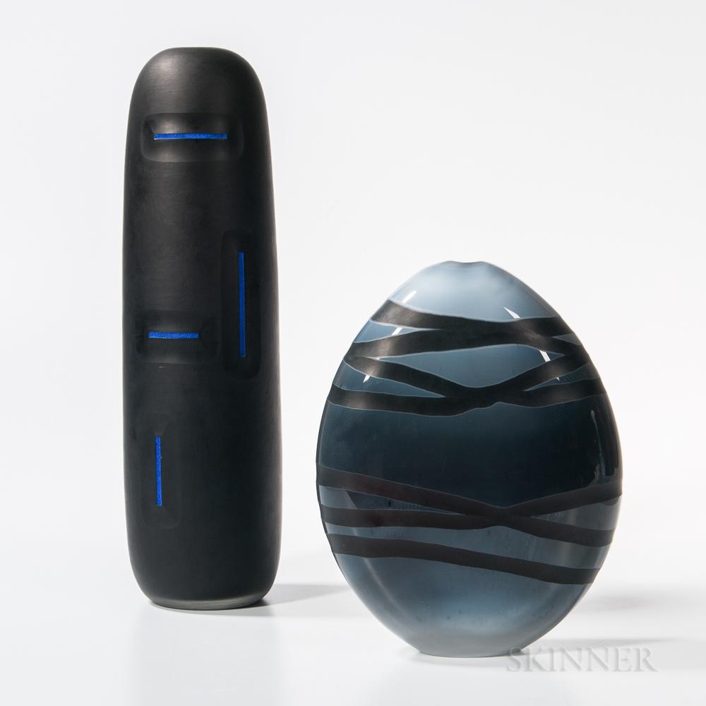Two Ben Sewell Art Glass Sculptures