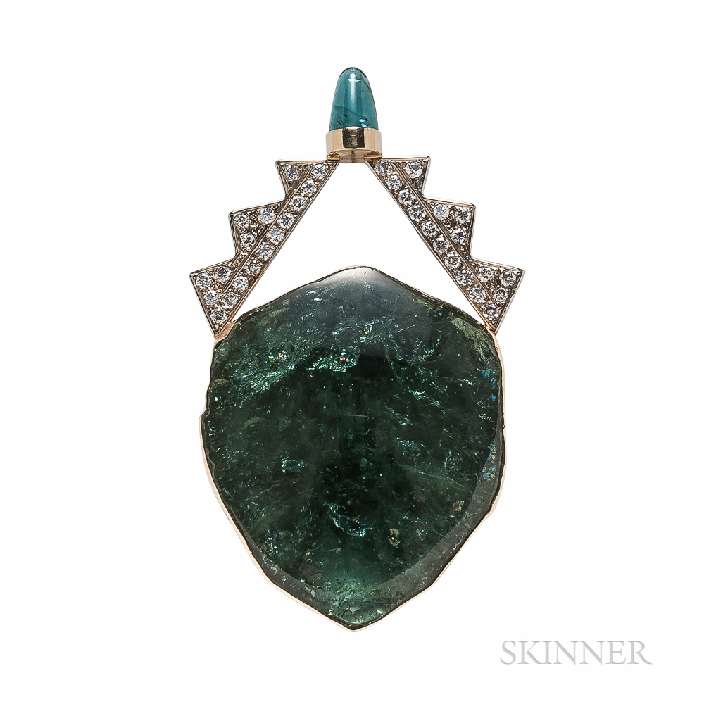 14kt Gold, Green Tourmaline, and Diamond Pendant/Brooch